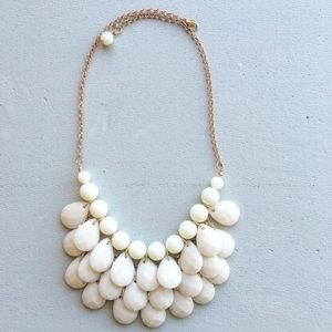 Lily white teardrop statement necklace